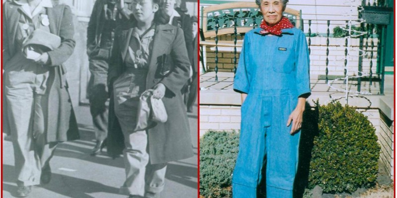 "Image courtesy of the Rosie the Riveter/WWII Home Front National Historic Park: ""Edith Juarez Rodriguez was a riveter for Boeing Aircraft in Wichita, KS during the war. She is seen here walking down the street with a coworker, circa 1944, and in 2006 showing pride for her work toward the war effort--and still fits in the uniform!"""